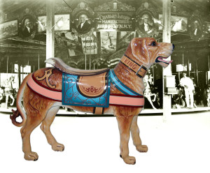 """Restored """"Broadway Flying Horses"""" Looff Dog, set against an archive photo of a ca. 1900s """"presidential"""" Looff carousel."""