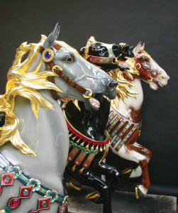 Three newly restored horses from the 1927 Illions Supreme. Paint and gold leaf by Lise Liepman for restorer, Brass Ring Carousel Company.