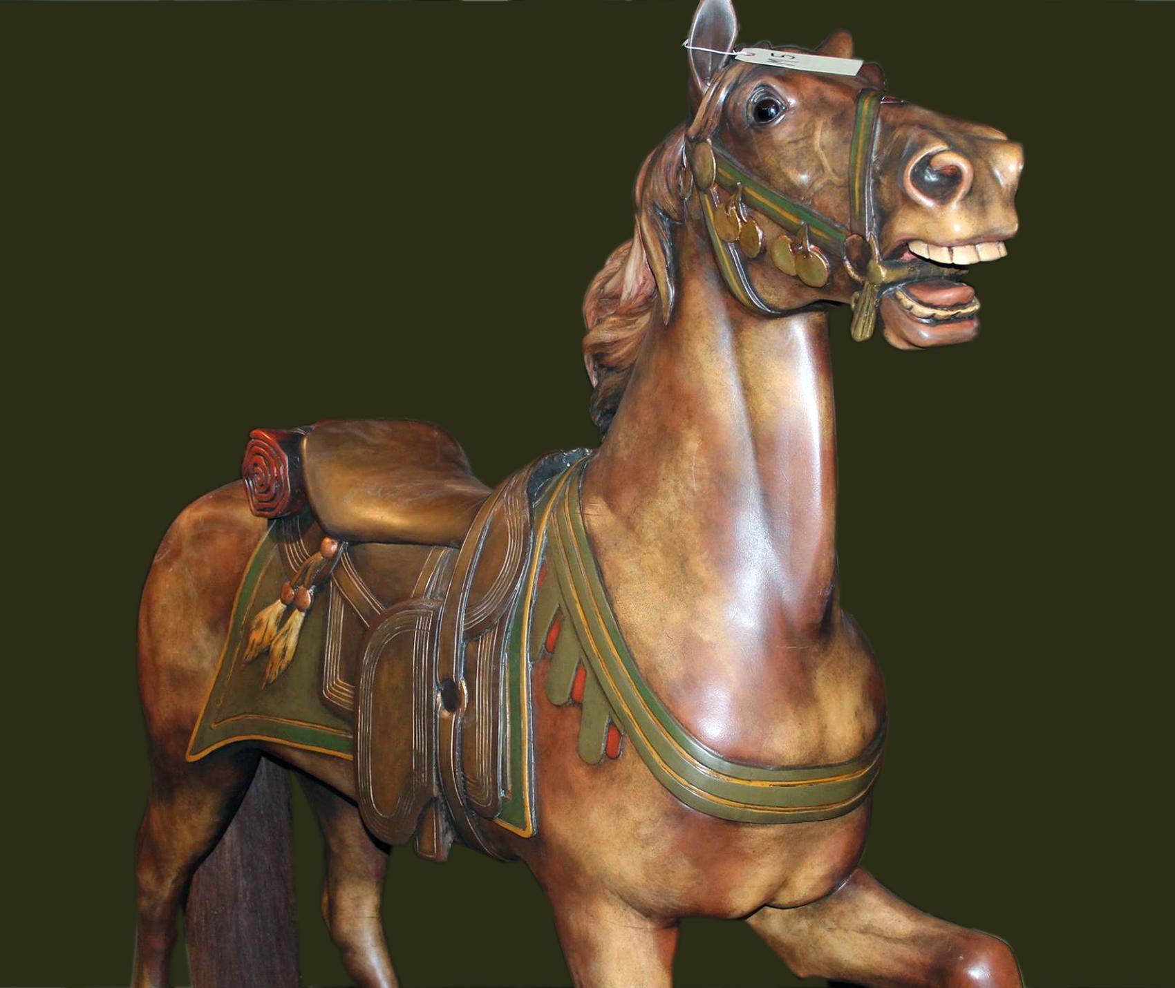 Ca 1910 Muller Cavalry Carousel Horse Antiquecarousels Com