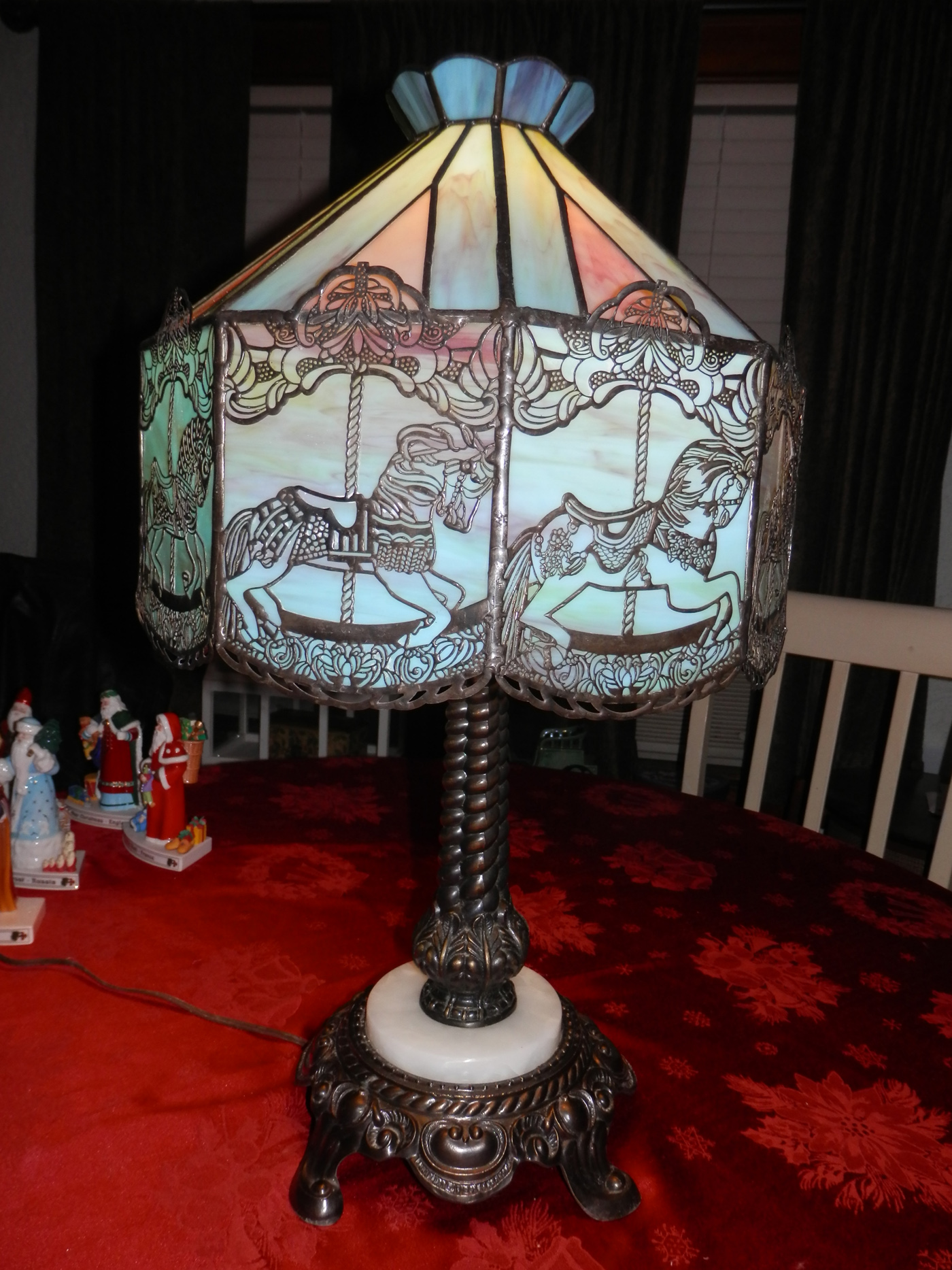 "Handcrafted ""Slag Glass"" Carousel Lamp – SOLD 